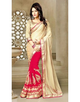 Designer Beige & Red Georgette Saree  - 73639