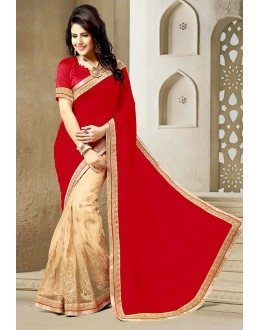 Ethnic Wear Red & Beige Georgette Saree  - 73641