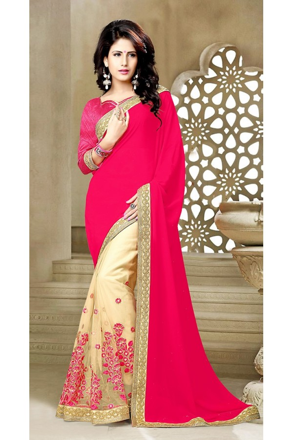 Party Wear  Pink & Beige Georgette Saree  - 73643