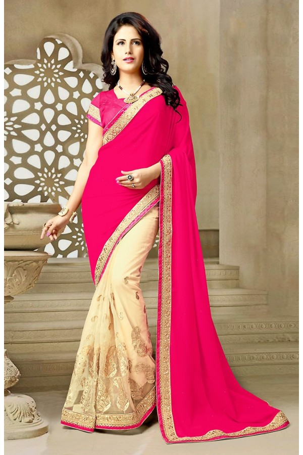 Party Wear  Pink & Beige Georgette Saree  - 73644