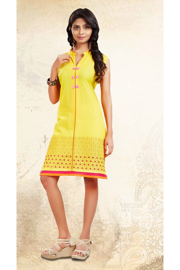 Ethnic Wear Readymade Yellow Cotton Kurti - 73690