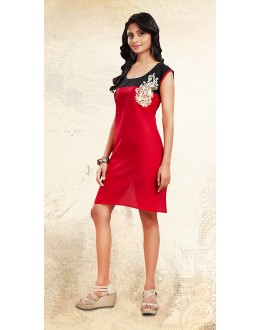 Party Wear Readymade Red Cotton Kurti - 73693
