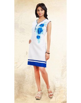 Ethnic Wear Readymade White Cotton Kurti - 73697