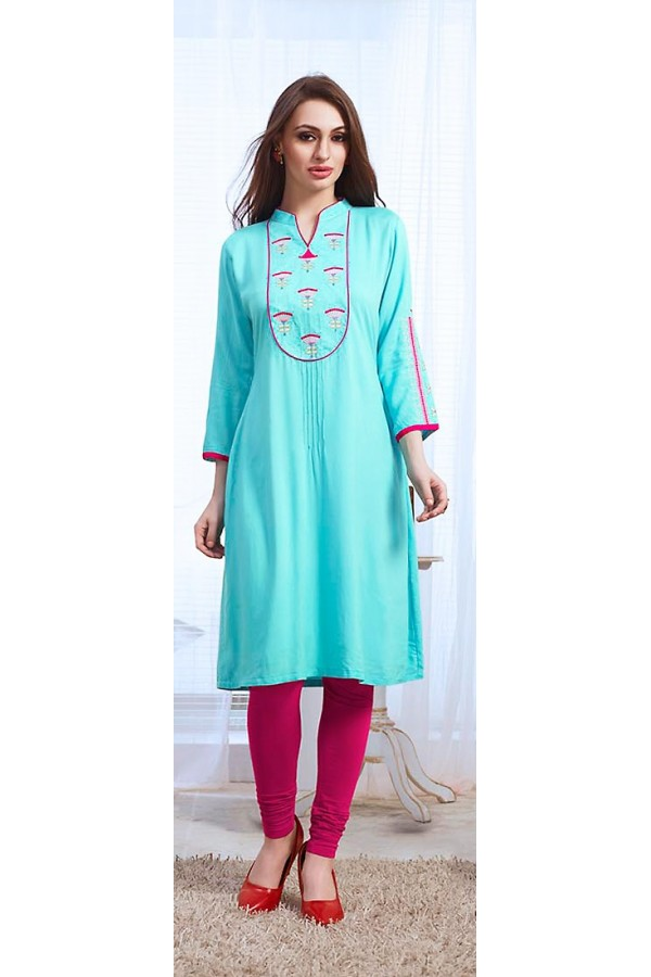 Office Wear Readymade Turquoise Cotton Kurti - 73768
