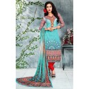 Office Wear Turquoise & Red Cotton Churidar Suit - 73787
