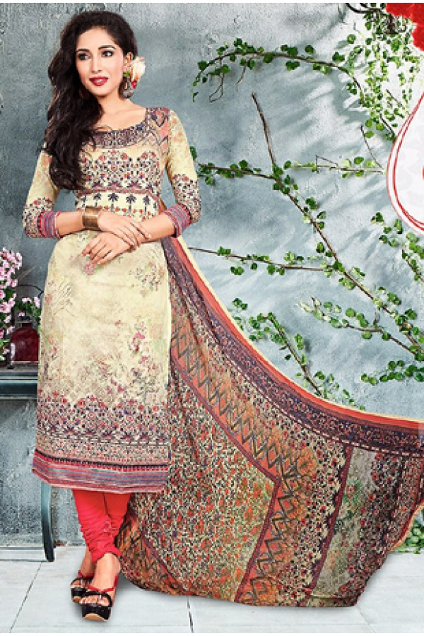 Ethnic Wear Brown & Red Cotton Salwar Suit - 73788