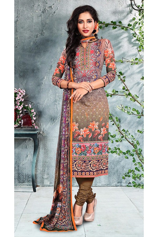 Office Wear Tan Brown Cotton Churidar Suit - 73789