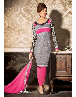 Ethnic Wear Grey & Pink Georgette Salwar Suit - 73892
