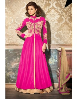 Designer Pink & Tan Brown Georgette Lehenga Suit - 73894