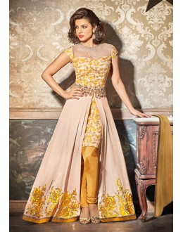 Party Wear Beige & Yellow Georgette Silt Salwar Suit - 73895