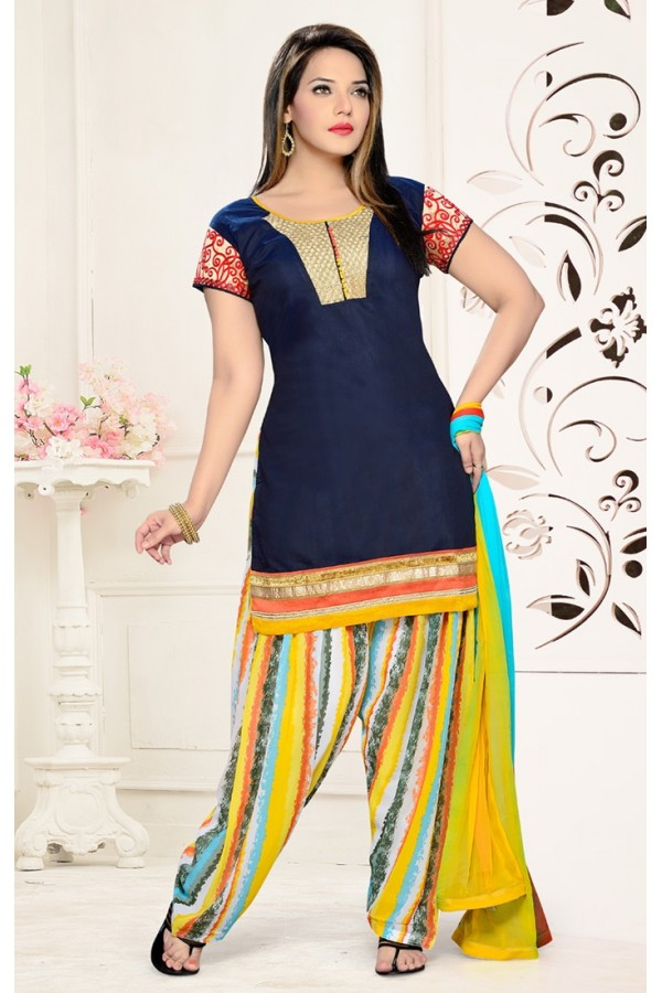 Ethnic Wear Readymade Navy Blue Patiyala Suit - 73939