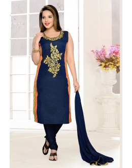 Office Wear Readymade Navy Blue Churidar Suit - 73940