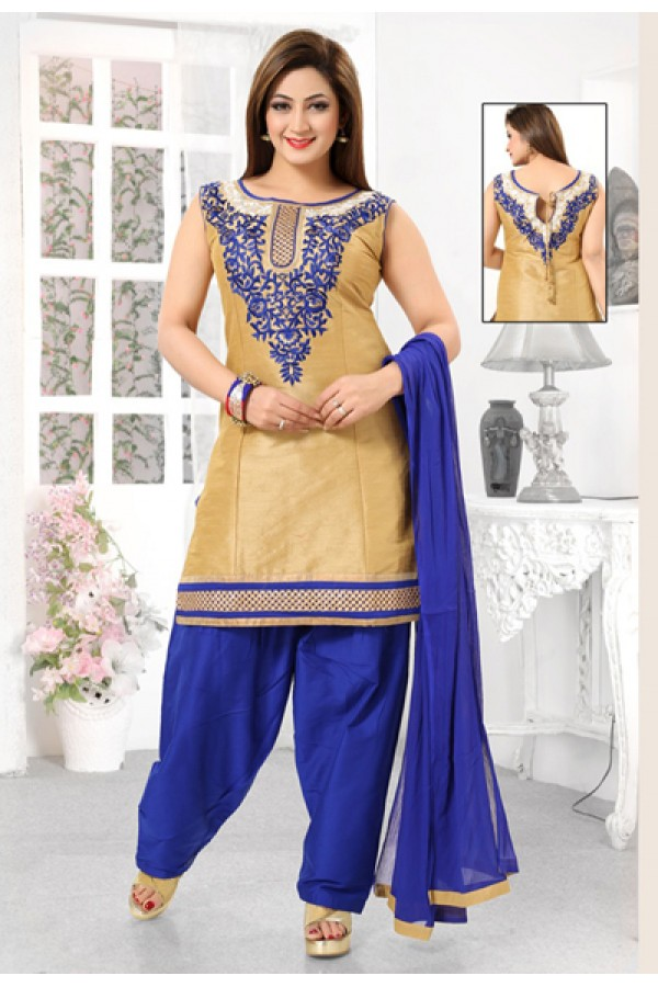 Festival Wear Readymade Beige & Blue Patiyala Suit - 73942