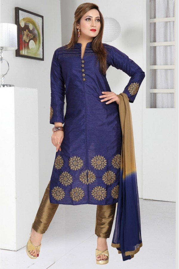 Ethnic Wear Readymade Navy Blue & Brown Salwar Suit - 73947