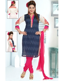 Office Wear Readymade Navy Blue Churidar Suit - 73948