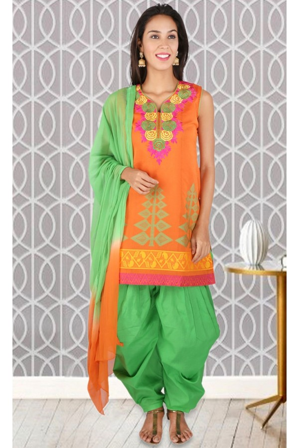 Party Wear Readymade Orange Patiyala Suit - 73951