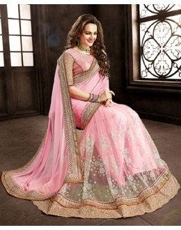 Ethnic Wear Pink Chiffon Embroidered Saree  - 73860
