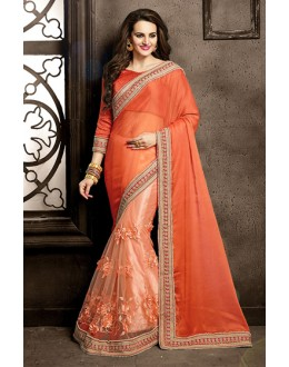 Ethnic Wear Orange Chiffon Saree  - 73861