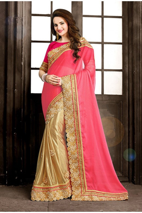 Party Wear Pink & Golden Imported Saree  - 73864