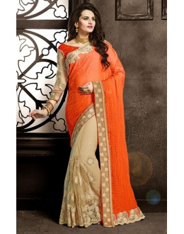 Festival Wear Orange & Tan Brown Net Saree  - 73872
