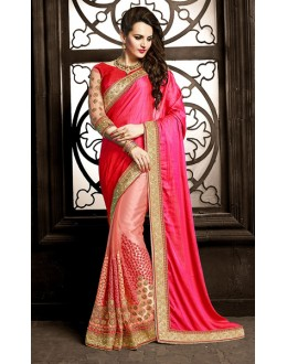 Festival Wear Pink Net Saree  - 73873