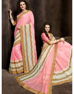 Party Wear Pink Georgette Saree  - 73876