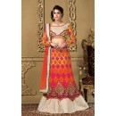 Wedding Wear Orange & Beige Net Lehenga Choli - 73978