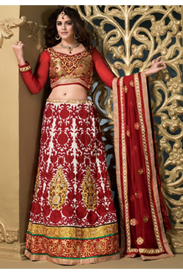 Ethnic Wear White & Red Silk Lehenga Choli - 73979