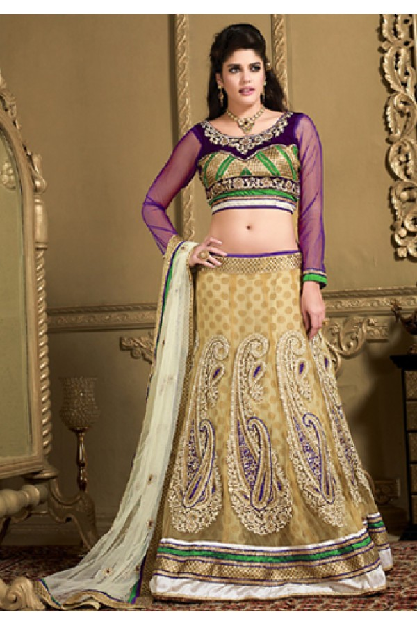 Designer Tan Brown & Purple Net Lehenga Choli - 73985