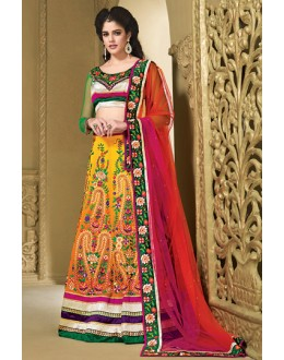 Ethnic Wear Yellow & Green Chiffon Lehenga Choli - 73987