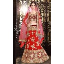 Bridal Red & Maroon Net Lehenga Choli - 74009