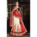 Designer Off White & Red Net Lehenga Choli - 74013