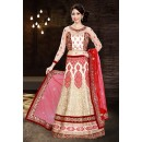 Ethnic Wear Off White & Red Net Lehenga Choli - 74016