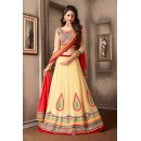 Wedding Wear Beige & Red Net Lehenga Choli - 74027