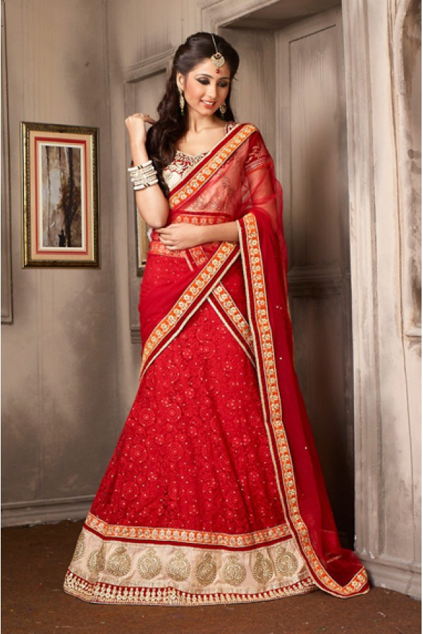 Ethnic Wear Red & Beige Net Lehenga Choli - 74028