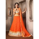 Traditional Orange & Beige Net Lehenga Choli - 74029
