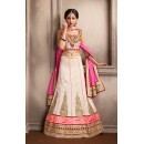 Designer Off White & Pink Silk Lehenga Choli - 74031