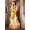 Designer Off White & Yellow Silk Lehenga Choli - 74032