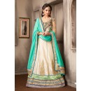 Wedding Wear Off White & Turquoise Silk Lehenga Choli - 74033