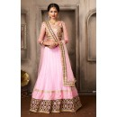 Ethnic Wear Pink & Tan Brown Net Lehenga Choli - 74036