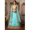 Designer Turquoise & Tan Brown Net Lehenga Choli - 74038