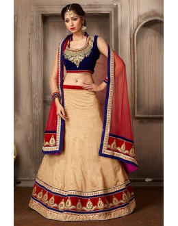 Festival Wear Beige & Red Silk Lehenga Choli - 74039