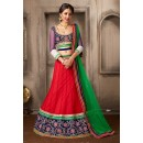 Navratri Special Red & Green Net Lehenga Choli - 74041