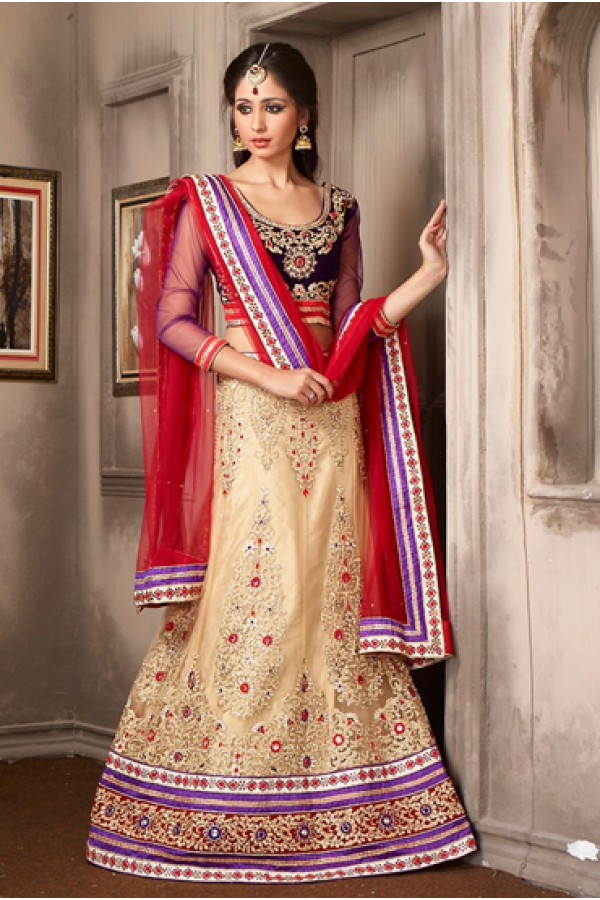 Wedding Wear Beige & Red Net Lehenga Choli - 74044
