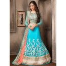 Ethnic Wear Sky Blue & Pink Net Lehenga Choli - 74049