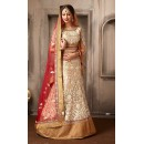 Bridal Wear Tan Brown & Red Net Lehenga Choli - 74051