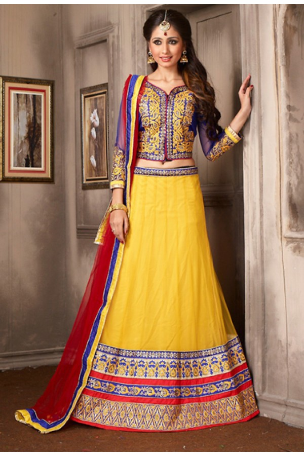 Navratri Special Yellow & Red Net Lehenga Choli - 74052