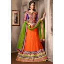Navratri Special Orange & Green Net Lehenga Choli - 74053