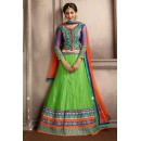Navratri Special Green & Orange Net Lehenga Choli - 74054
