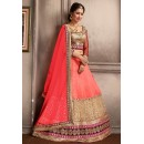 Wedding Wear Peach & Tan Brown Net Lehenga Choli - 74061